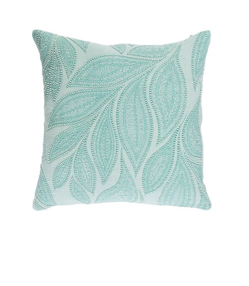 "22"" Green and White Beaded Square Throw Pillow - Polyester Filler - IMAGE 1"