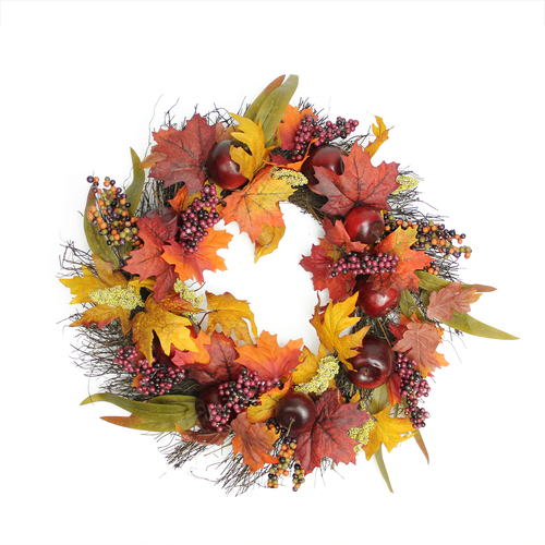 Apple and Berry Twig Artificial Wreath, Red 22-Inch - IMAGE 1