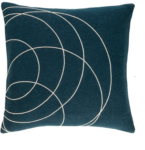 """20"""" Lapis Lazuli Blue and White Woven Decorative Throw Pillow - Poly Filled - IMAGE 1"""