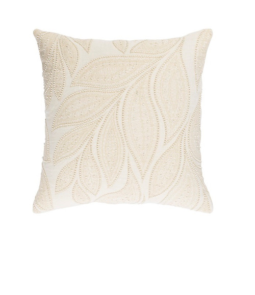 """22"""" White and Ivory Beaded Square Throw Pillow - Down Filler - IMAGE 1"""