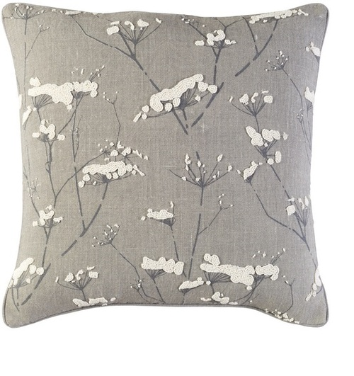 """18"""" Gray and White Woven Contemporary Throw Pillow - IMAGE 1"""