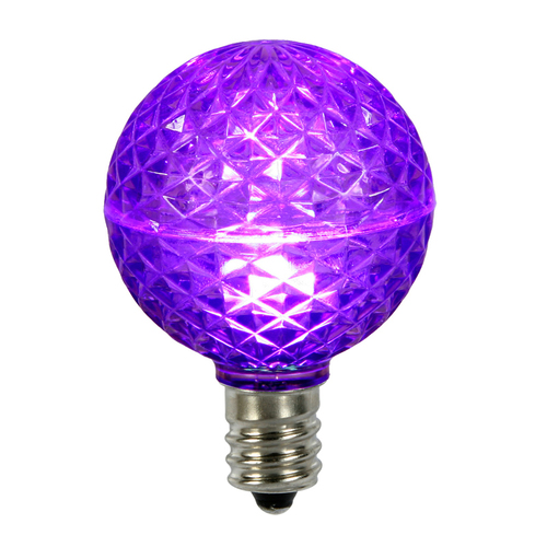 Club Pack of 25 LED G50 Purple Replacement Christmas Light Bulbs - E12 Base - IMAGE 1