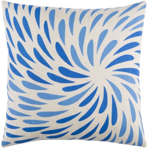 """20"""" Blue and White Decorative Square Throw Pillow - Down Filler - IMAGE 1"""
