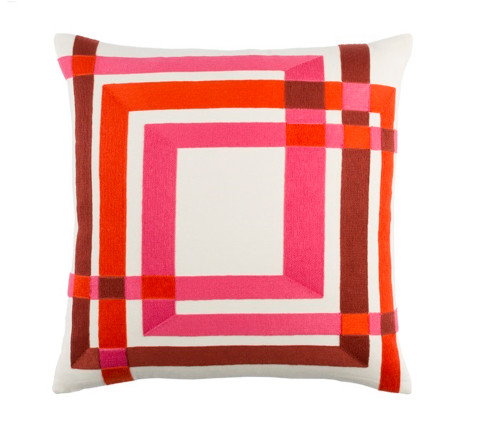"""22"""" Hot Pink and White Woven Square Throw Pillow - IMAGE 1"""