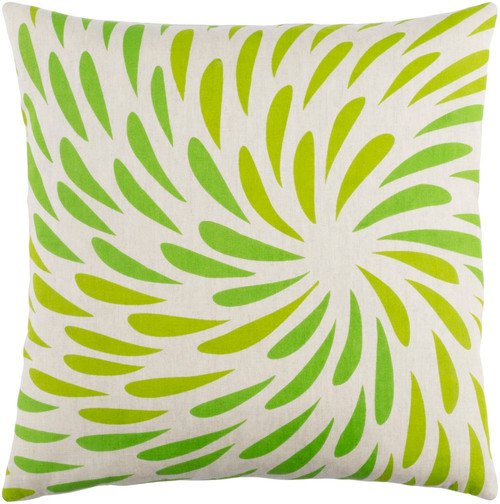 """22"""" Green and White Decorative Square Throw Pillow - Down Filler - IMAGE 1"""