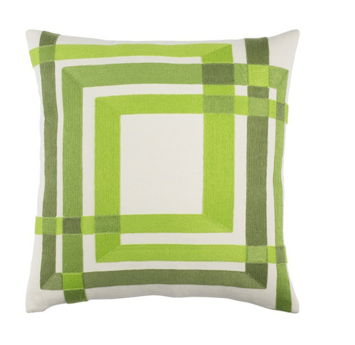 """22"""" Green and White Square Woven Throw Pillow - IMAGE 1"""