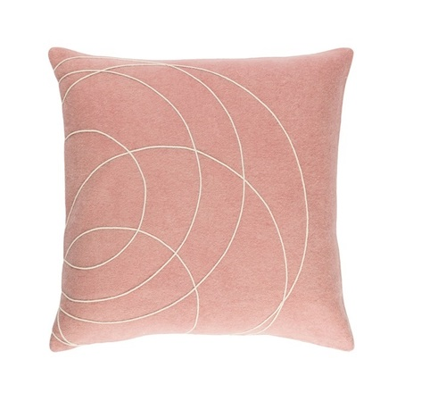 """22"""" Pink and Cream Woven Decorative Throw Pillow - Poly Filled - IMAGE 1"""