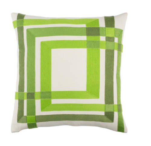 """22"""" Green and White Woven Throw Pillow - Down Filler - IMAGE 1"""