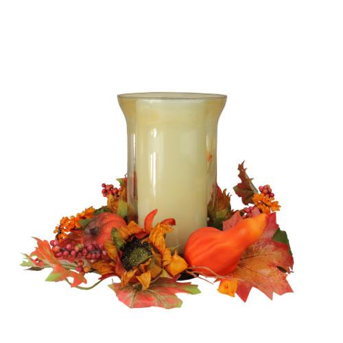 """16"""" Orange and Red Sunflower with Pumpkin Fall Pillar Candle Holder - IMAGE 1"""