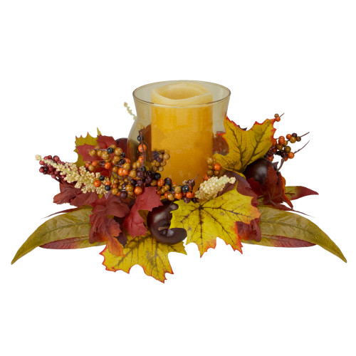 """15"""" Fall Apple and Berry Glass Hurricane Pillar Candle Holder Centerpiece - IMAGE 1"""