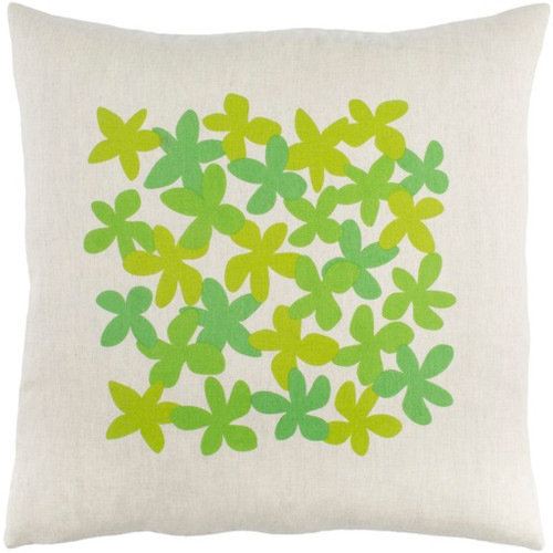 """22"""" White and Green Floral Square Throw Pillow - Down Filler - IMAGE 1"""