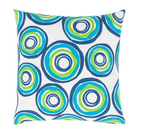 """18"""" Blue and White Square Woven Throw Pillow - IMAGE 1"""