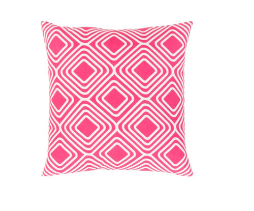 """18"""" Pink and White Woven Square Throw Pillow - IMAGE 1"""