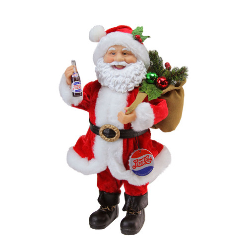 "12"" Red and White Santa Claus with Gift Sack Christmas Figurine - IMAGE 1"