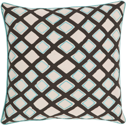 "20"" Blue Ice, Midnight Black and Cream Woven Decorative Throw Pillow - Poly Filled - IMAGE 1"