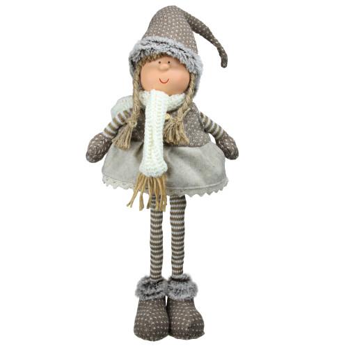"""26"""" Gray and Brown Standing Nordic Girl Christmas Tabletop Figurine - IMAGE 1"""