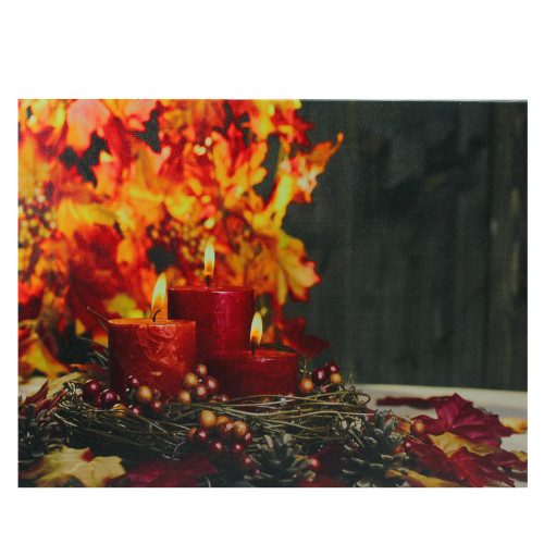 """15.75"""" Red and Yellow LED Lighted Candles Festive Fall Autumn Wall Art - IMAGE 1"""