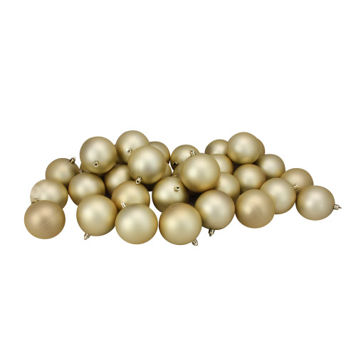 """32ct Champagne Gold Shatterproof Matte Christmas Ball Ornaments 3.25"""" (80mm) - IMAGE 1"""
