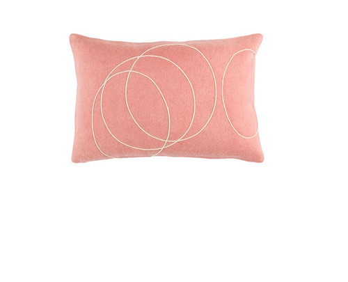 """13"""" x 19"""" Pink and Beige Contemporary Rectangular Throw Pillow - Down Filler - IMAGE 1"""