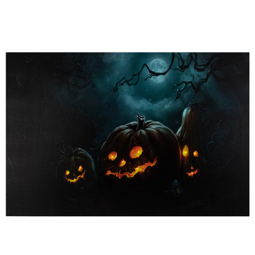 "23.5"" LED Lighted Spooky Halloween Jack-O-Lanterns Canvas Wall Art - IMAGE 1"