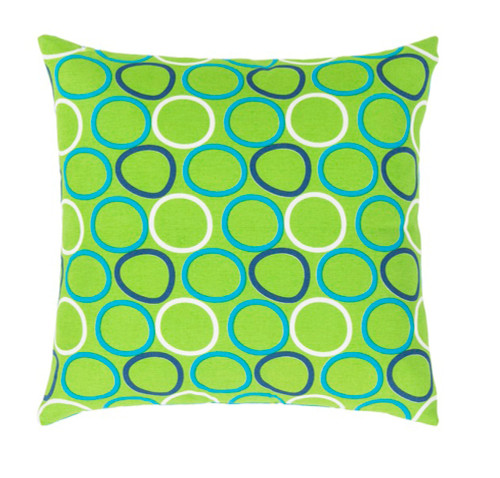 """18"""" Green and White Square Throw Pillow - Down Filler - IMAGE 1"""