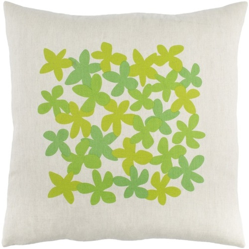 """18"""" White and Green Floral Square Throw Pillow - IMAGE 1"""