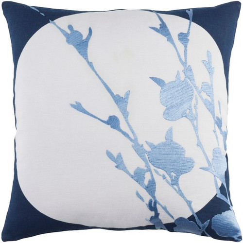 """18"""" Navy Blue Machine Embroidered Square Throw Pillow - Down Filler - IMAGE 1"""
