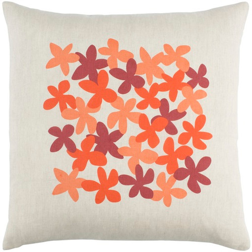 """20"""" White and Orange Floral Square Throw Pillow - IMAGE 1"""