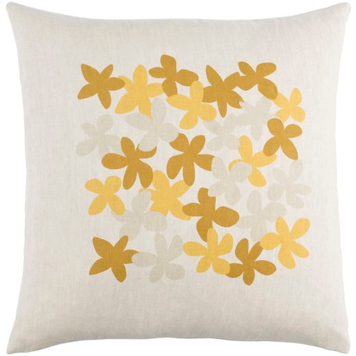 "22"" White and Yellow Floral Square Throw Pillow - Down Filler - IMAGE 1"