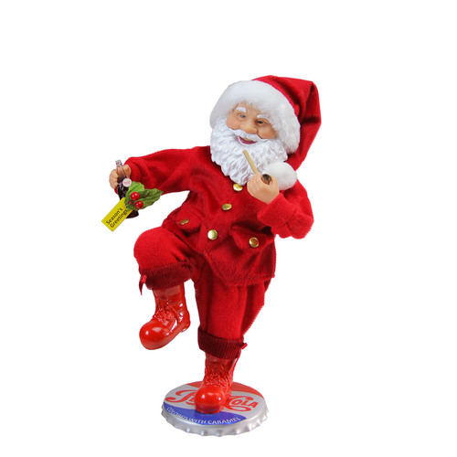"""12"""" Red and White Santa Claus Standing on Pepsi-Cola Bottle Cap Christmas Figurine - IMAGE 1"""