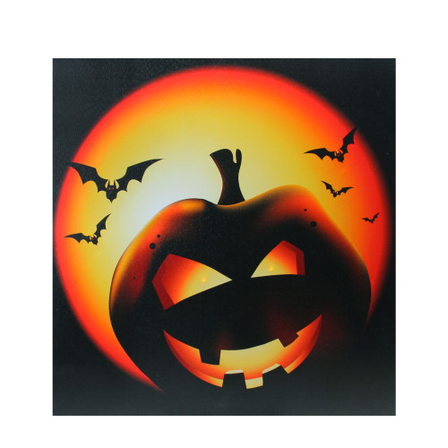 "LED Lighted Bats and Jack-O-Lantern Halloween Canvas Wall Art 19.75"" x 19.75"" - IMAGE 1"