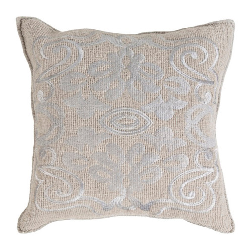 """22"""" Oyster Gray Woven Decorative Throw Pillow - Down Filler - IMAGE 1"""