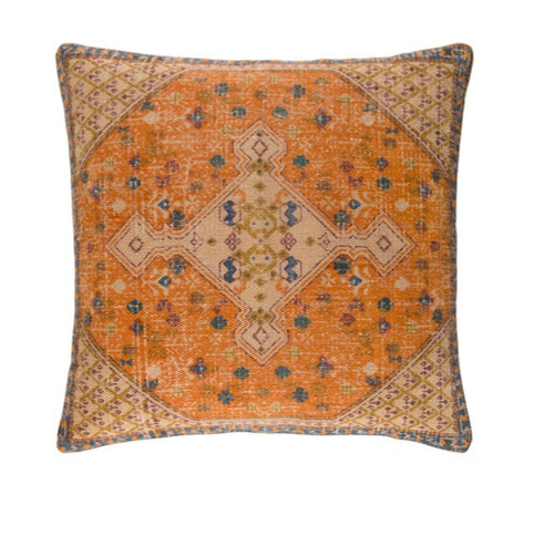 "18"" Brown and Orange Contemporary Square Throw Pillow - IMAGE 1"