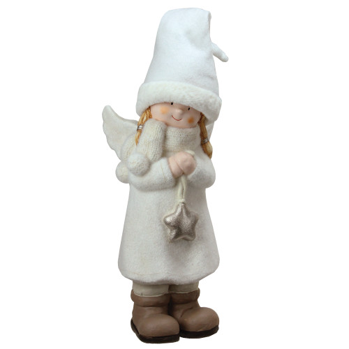 """19.75"""" White and Beige Winter Girl Angel with Star Christmas Table Top Figure - IMAGE 1"""