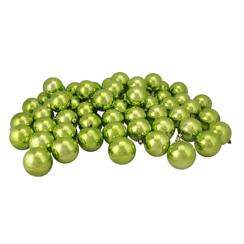 "60ct Kiwi Green Shatterproof Shiny Christmas Ball Ornaments 2.5"" (60mm) - IMAGE 1"