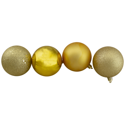 "32ct Vegas Gold Shatterproof 4-Finish Christmas Ball Ornaments 3.25"" (80mm) - IMAGE 1"