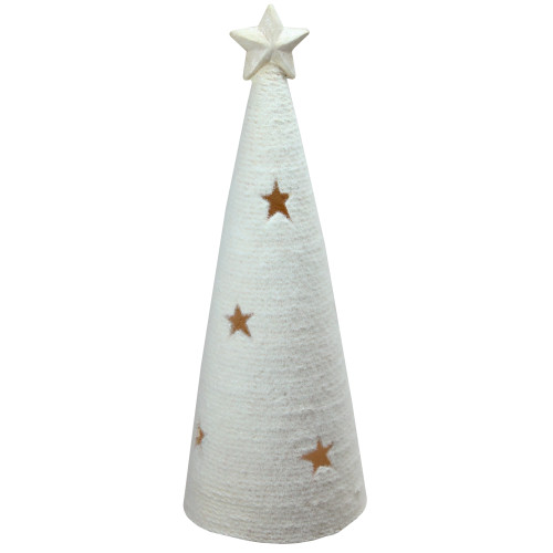 """25.5"""" White LED Lighted Tree with Star Cutout Christmas Tabletop Decor - IMAGE 1"""
