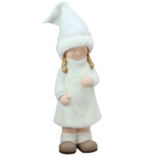 """19"""" White and Beige Winter Girl with Tall Hat Christmas Table Top Figure - IMAGE 1"""