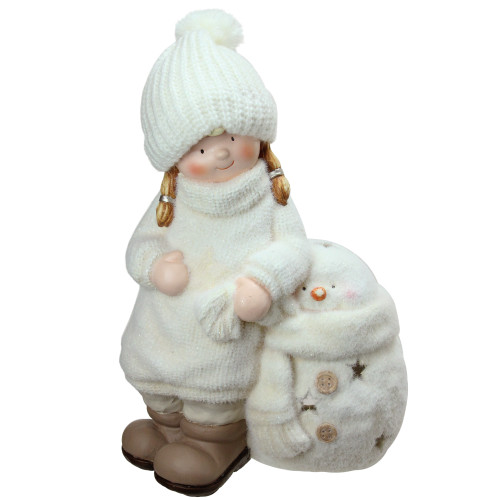 17.25 White Tealight Snowman with Standing Girl Christmas Candle Holder - IMAGE 1