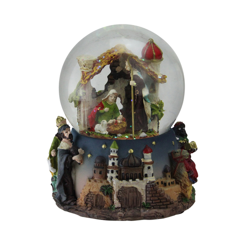 """6"""" Nativity Manger Scene Religious Musical Christmas Snow Globe - IMAGE 1"""