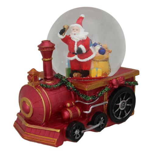 "6"" Santa Claus on a Red Train Christmas Glitter Snow Globe - IMAGE 1"