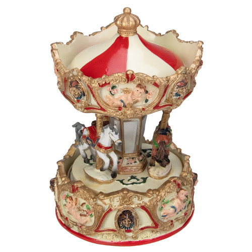 6.5 Ivory and Gold Animated Musical Clown and Cupid Carousel Tabletop Decoration - IMAGE 1