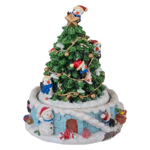 "6"" Rotating Penguin on Tree Musical Christmas Decoration - IMAGE 1"
