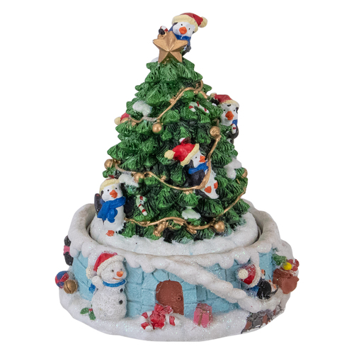 "6"" Rotating Penguin on Tree Musical Christmas Decoration - IMAGE 1"