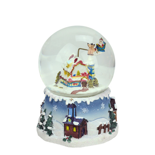 """5.5"""" Santa Claus on Sleigh and Snowy Village Rotating Musical Christmas Water Globe Dome - IMAGE 1"""