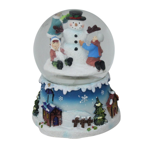 """6.25"""" Snowman and Children Musical Swirling Christmas Snow Globe - IMAGE 1"""