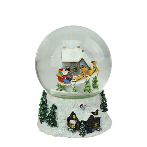 "6.75"" Musical and Animated Santa and Reindeer Rotating Christmas Water Globe - IMAGE 1"