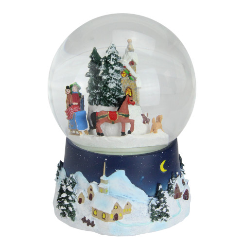 """6.5"""" Musical and Animated Christmas Villiage Winter Scene Rotating Water Globe Dome - IMAGE 1"""