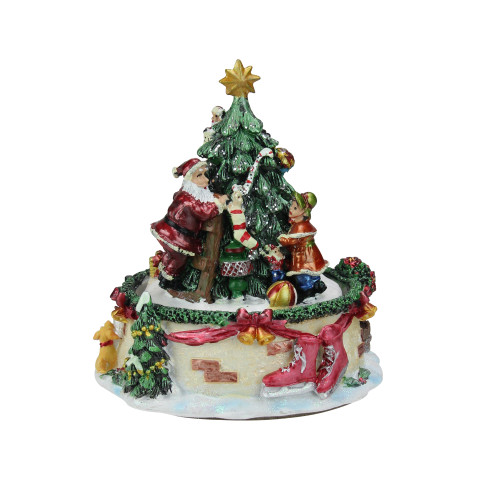 "5.5"" Musical Santa Claus and Christmas Tree Winter Scene Rotating Tabletop Decoration - IMAGE 1"
