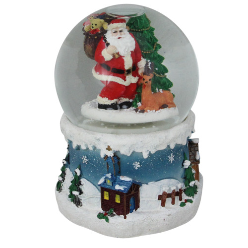 6 Musical Santa Claus with Christmas Tree and Reindeer Blowing Snow Globe - IMAGE 1